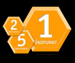 Orange Waben mit einem, zwei und fünf Ökopunkten